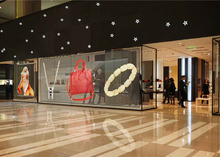 Indoor 3.91x7.8mm Mesh Design Transparent Led Video Screen for Glass Window Mall Store